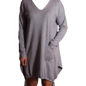 Дамска спортна рокля 018-316-4 с връзки цвят сив