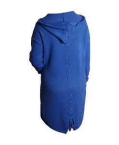 Дамска спортна рокля 018-316-51 с качулка цвят син