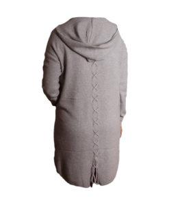 Дамска спортна рокля 018-316-52 с качулка цвят сив