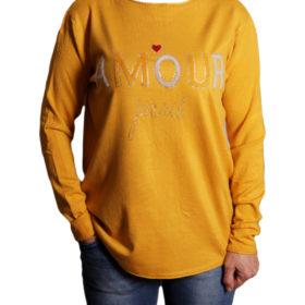 Дамски пуловер 019-684-3 с надпис цвят горчица