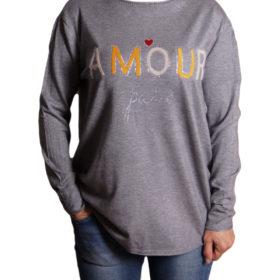Дамски пуловер 019-684-5 с надпис цвят сив