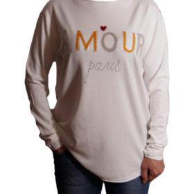 Дамски пуловер 019-684-2 с надпис цвят бял