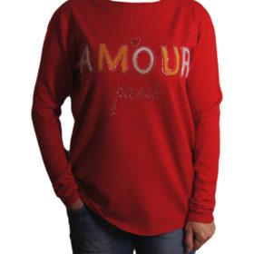 Дамски пуловер 019-684-3 с надпис цвят червен