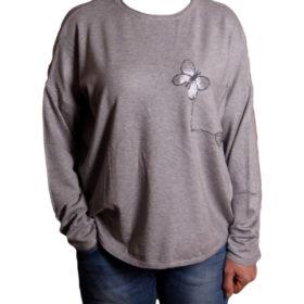 Дамска блуза XL 119-267-4 цвят сив с две пеперуди