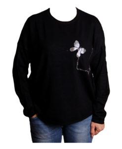 Дамска блуза XL 119-267-5 цвят черен с две пеперуди