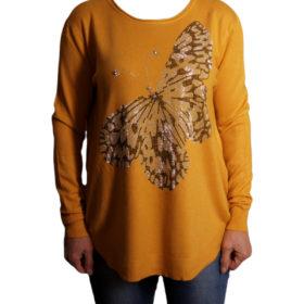 Дамска блуза XL 119-266-3 цвят горчица с голяма пеперуда