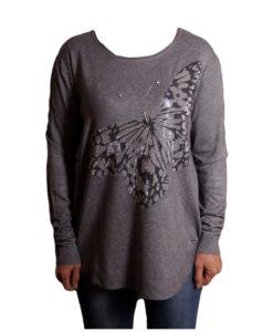 Дамска блуза XL 119-266-2 цвят сив с голяма пеперуда