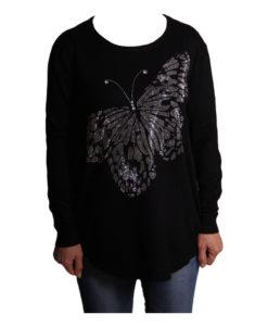 Дамска блуза XL 119-266-4 цвят черен с голяма пеперуда