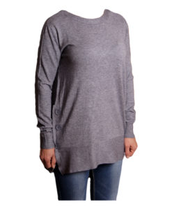 Дамска блуза XL 119-266-8 цвят сив с копчета