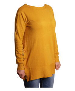 Дамска блуза XL 119-266-6 цвят горчица с копчета