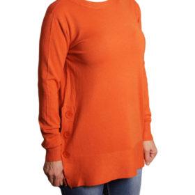 Дамска блуза XL 119-266-5 цвят оранжев с копчета