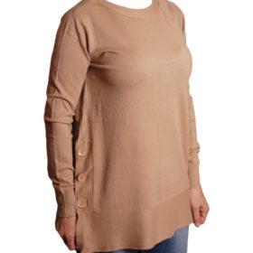 Дамска блуза XL 119-266-7 цвят бежов с копчета