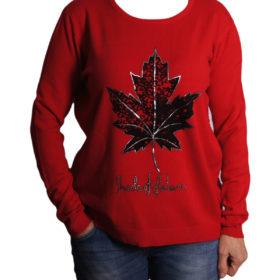 Дамски пуловер 019-683-6 с кленов лист цвят червен