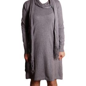 Дамска спортна рокля 018-317-4 сива с шал