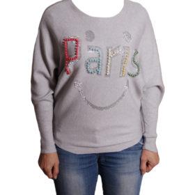Дамски пуловер 019-682-3 с надпис PARIS цвят сив