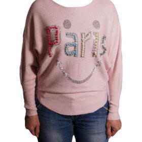 Дамски пуловер 019-682-2 с надпис PARIS цвят розов