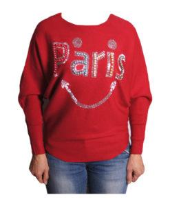 Дамски пуловер 019-682-4 с надпис PARIS цвят червен