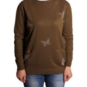 Дамски пуловер 019-681-1 с пеперуди цвят зелен