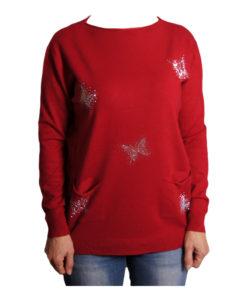 Дамски пуловер 019-681-3 с пеперуди цвят червен