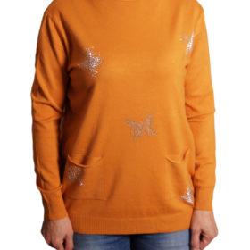 Дамски пуловер 019-681-5 с пеперуди цвят горчица