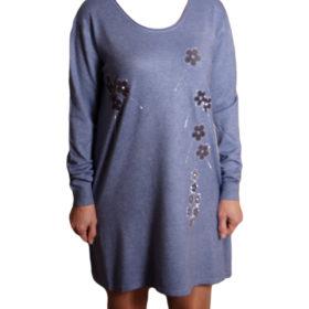 Дамска спортна рокля 018-315-5 с цветя цвят син