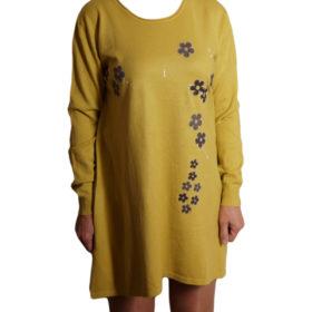 Дамска спортна рокля 018-315-4 с цветя цвят горчица