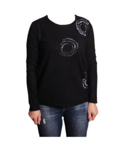Дамска блуза XL 119-265-1 цвят черен с камъчета