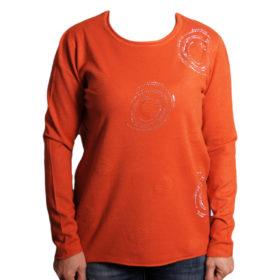 Дамска блуза XL 119-265-2 цвят теракота с камъчета