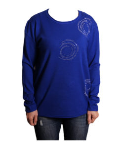 Дамска блуза XL 119-265-3 цвят син с камъчета