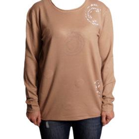 Дамска блуза XL 119-265-4 цвят бежов с камъчета