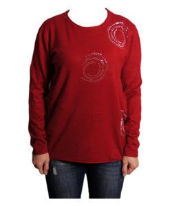 Дамска блуза XL 119-265-5 цвят червен с камъчета