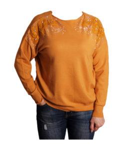 Дамски пуловер 019-679-5 цвят жълт с дантелени цветя