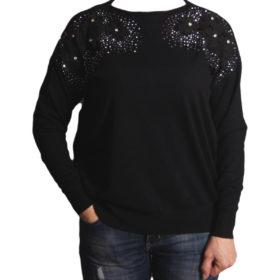 Дамски пуловер 019-679-2 цвят черен с дантелени цветя