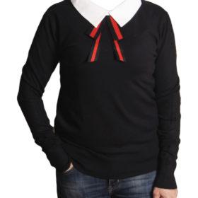 Дамски пуловер 019-679-56 цвят черен с якичка
