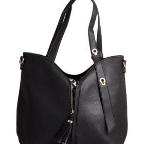 Дамска чанта 01-17-166-4 черна с тигров принт