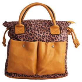 Дамска чанта 01-17-166-6 тигров принт и акценти в жълто