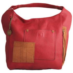 Дамска чанта 01-17-166-2 червена с кафяв акцен