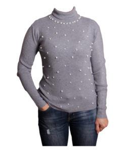 Дамски пуловер 019-680-4 тип поло цвят сив