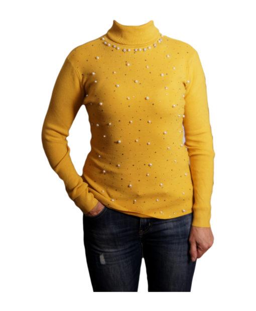 Дамски пуловер 019-680-1 тип поло цвят жълт