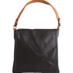 Дамска чанта 01-17-165-4 черна с кафява дръжка