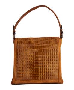 Дамска чанта 01-17-165-3 жълта с кафява дръжка