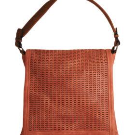 Дамска чанта 01-17-165-5 оранжева с кафява дръжка