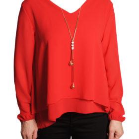 Дамска блуза 019-677-1 червена с гердан