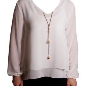 Дамска блуза 019-677-3 бяла с гердан