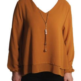 Дамска блуза 019-677-2 жълта с гердан