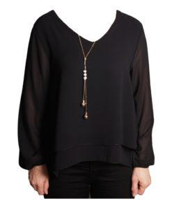 Дамска блуза 019-677-4 черна с гердан