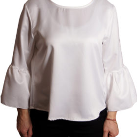Дамска блуза 019-677-5 бяла с ръкав камбанка