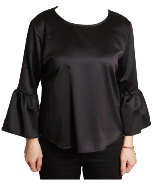 Дамска блуза 019-677-6 черна с ръкав камбанка