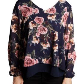 Дамска блуза 019-677-60 на цветя синя основа