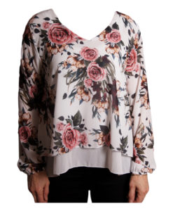 Дамска блуза 019-677-61 на цветя бяла основа